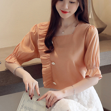 Pleated Chiffon Summer 2019 New Lace Shirt Short Sleeve Blouses Women Tops Fashion Female blusas 15A3