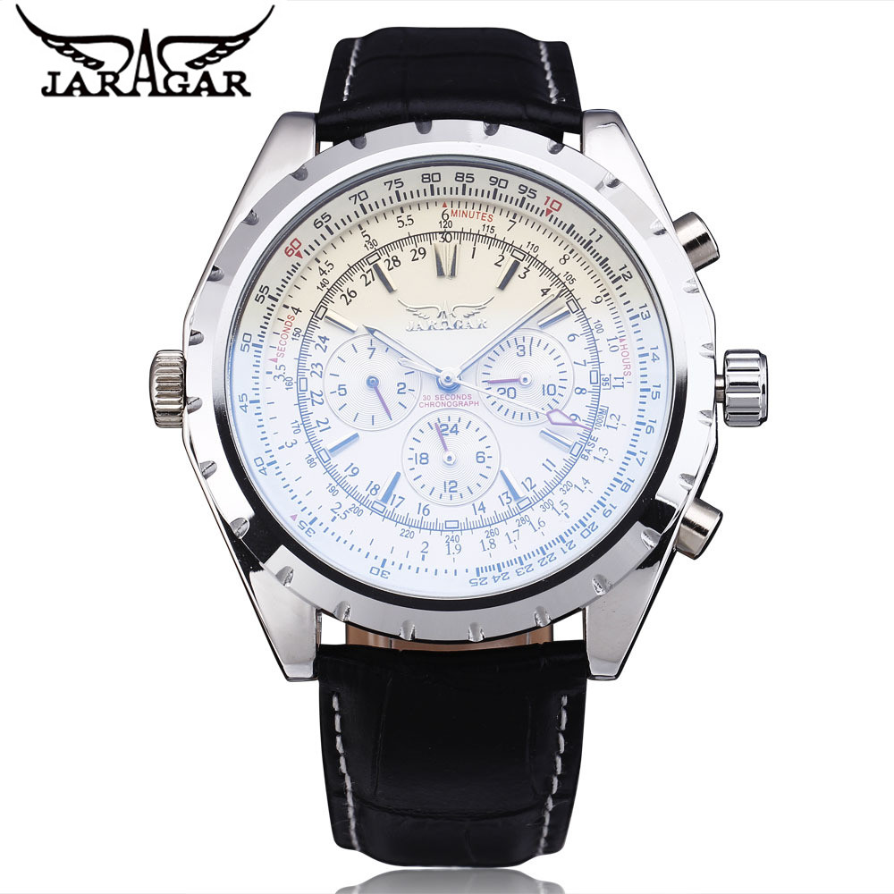 JARAGAR Luxury Erkek Kol Saati Men's 6 Hands Day/Week/24Hours Automatic Mechanical Watch PU Leather Strap Free Ship running shoes puma 19033903 sneakers for male tmallfs