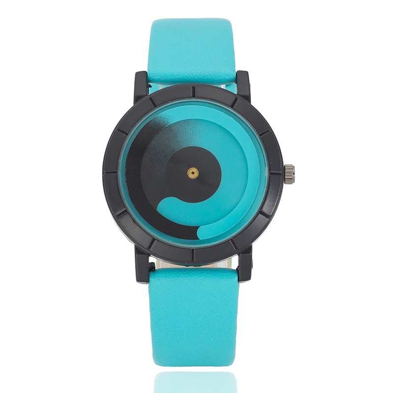 Brand Miler Leather Watch Women with Design Unique Tai Chi Rotate Dial Individuality Clock Students Simple