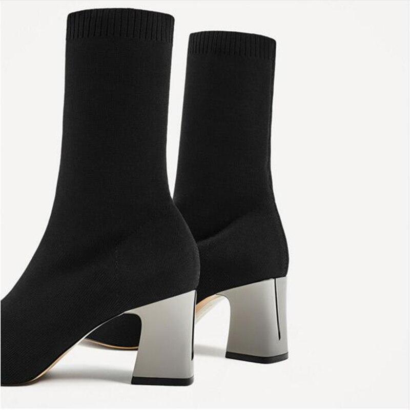 Estirar Mujeres otoño Y Moda Black Grueso De Tobillo Dedo Sexy Primavera Las Del Elástico Botas Calcetines Pie Zapatos Aneikeh Alto Tacón 4wfqxpxCv