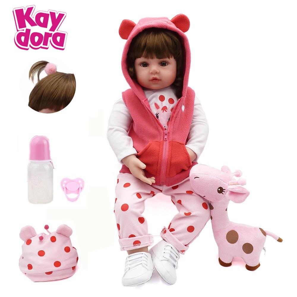 18 pouces bebes reborn poupée fait à la main Silicone reborn lol bébé adorable réaliste bambin Bonecas fille enfant menina de nouveau KAYDORA