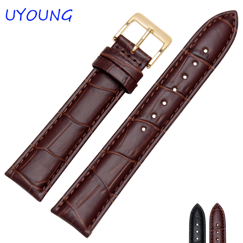 Quality Genuine Leather Watchband 12mm 14mm 15mm 16mm 18mm 19mm 20mm 21mm 22mm Gold Buckle Womens Mens Wrist Watch band цена