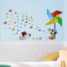 Windmills Heart-shaped Wall Sticker Decal Home Paper Art Picture DIY Murals kids Nursery Baby Living Room Bedroom Decoration