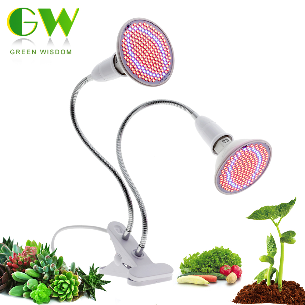 LED Grow Light Full Spectrum E27 Flexible Metal Hose Indoor Plant Lamp Clip-on Plant Growing Lights For Seedlings Flowers Growth