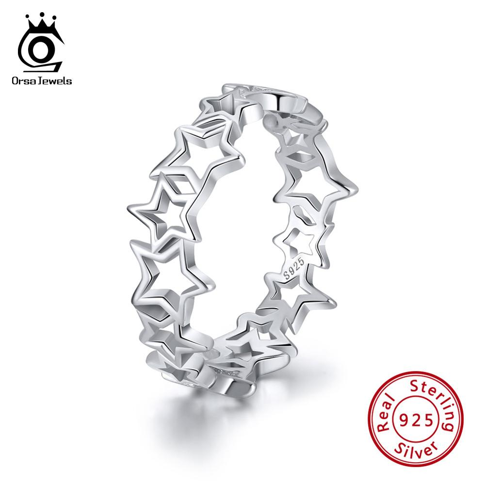 ORSA JEWELS 100% Real 925 Sterling Silver Women Finger Ring Hollowed Star Patchwork 6MM High Polished Shiny Silver Jewelry SR103