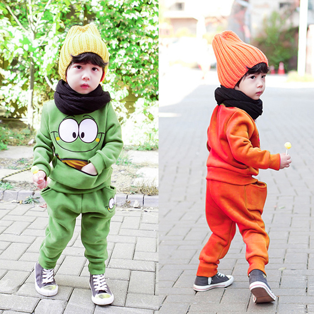 Baby Boy Girls Clothes Suits Cartoon Face Top Harem Pant Outfit Children Autumn Winter Tracksuit Kids
