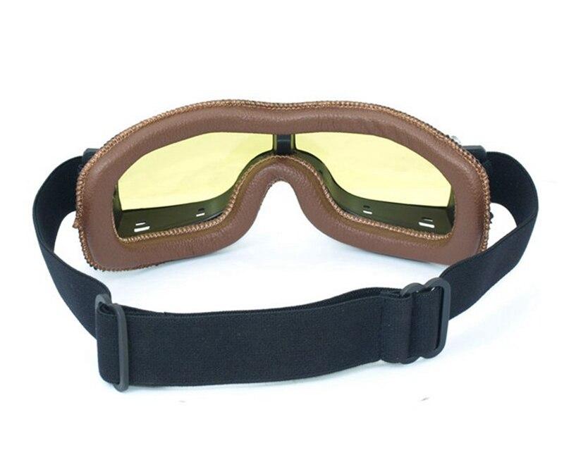 Пояса из натуральной кожи Авиатор Пилот Cruiser Велоспорт Велосипедный спорт мотоцикл очки Очки очки коричневый Рамки желтые линзы