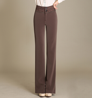 eded04b48453f High waist straight pants for women black red brown embroidery trousers  female OL new fashion spring autumn plus size aly0601-in Pants   Capris  from Women s ...