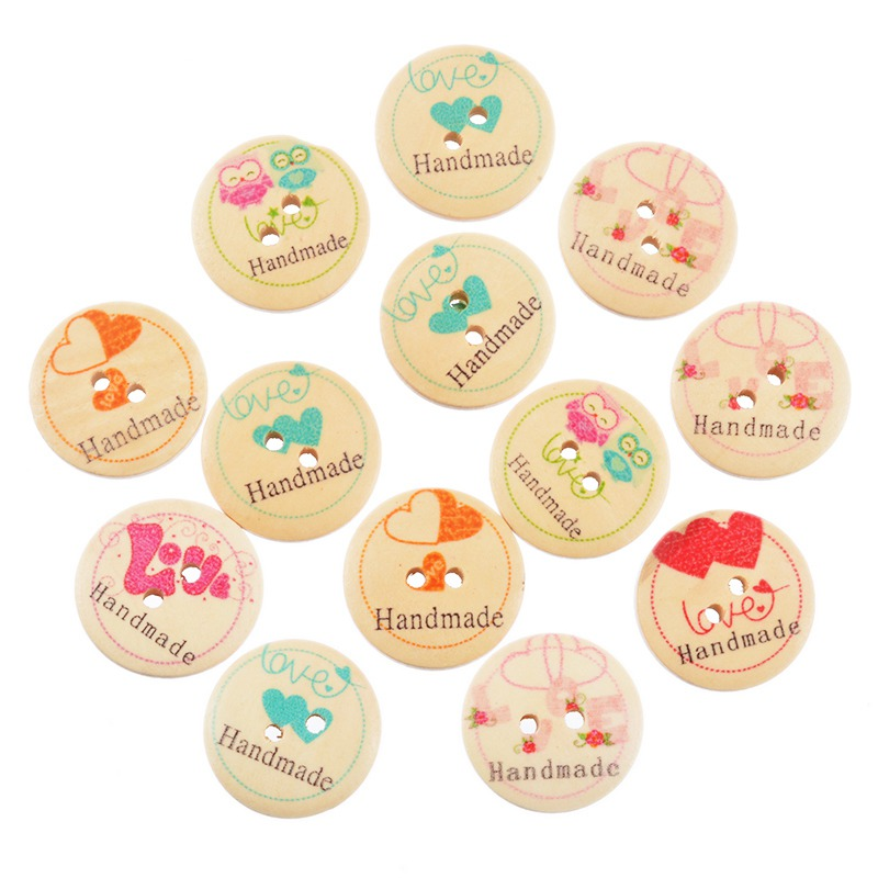 Funique 50pcs handmade round wooden buttons for needlework for Decorative buttons for crafts
