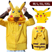 Pokemon Go Pikachu Winter Warm Coat Sweater Hoodie Thermal Cosplay Cute With Ears For Lovers Couple