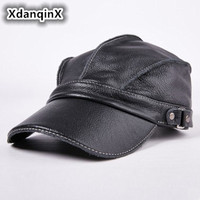 Men S Hat Leather Warm Baseball Caps Flat Top Hats Winter Adjustable Head Size Snapback Bone