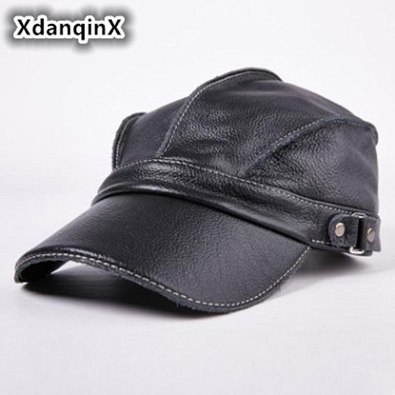 Men's Hat Leather Warm Baseball Caps Flat Top Hats Winter Adjustable Head Size Snapback Bone Dad's Leather Tongue Cap Unisex