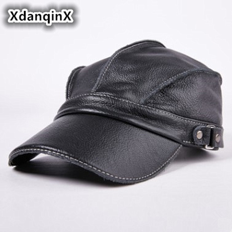 Men's Hat Leather Warm   Baseball     Caps   Flat Top Hats Winter Adjustable Head Size Snapback Bone Dad's Leather Tongue   Cap   Unisex