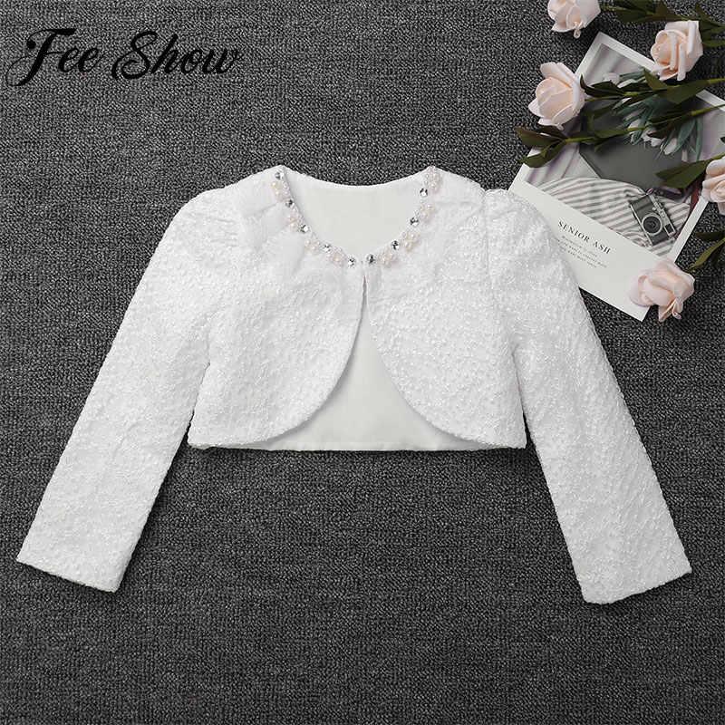 ddf7435de895e Girls Lace Party Coat Formal Bolero Wedding Beading Kids Jacket for Girl  Long Sleeve White Short