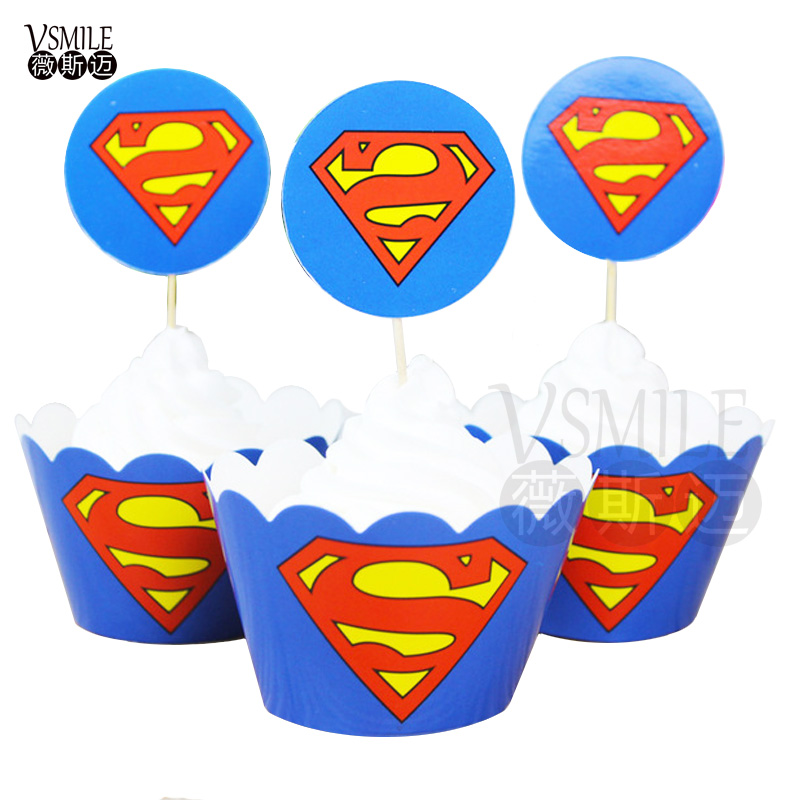 12pcs Topper+ 12pcs Wrapper Superman Thomas Pony Picks Set Decoration Baby  Shower Boy Girl Child Birthday