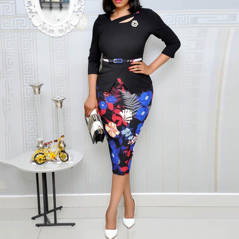 Floral Print Bodycon Office Dress