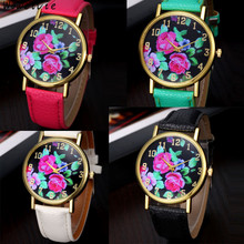 Fashion Vogue Women's Leather Rose Floral Printed Analog Quartz Wrist Watch