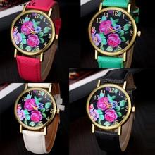 Fashion Vogue Women's Leather Rose Floral Printed Analog Quartz Wrist Watch