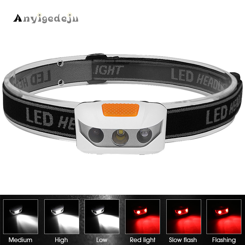 Mini Headlight AAA Battery Powered Red Light Flash White Headlamp XBD LED Head Light Torch Emergency Lantern For Night Fishing