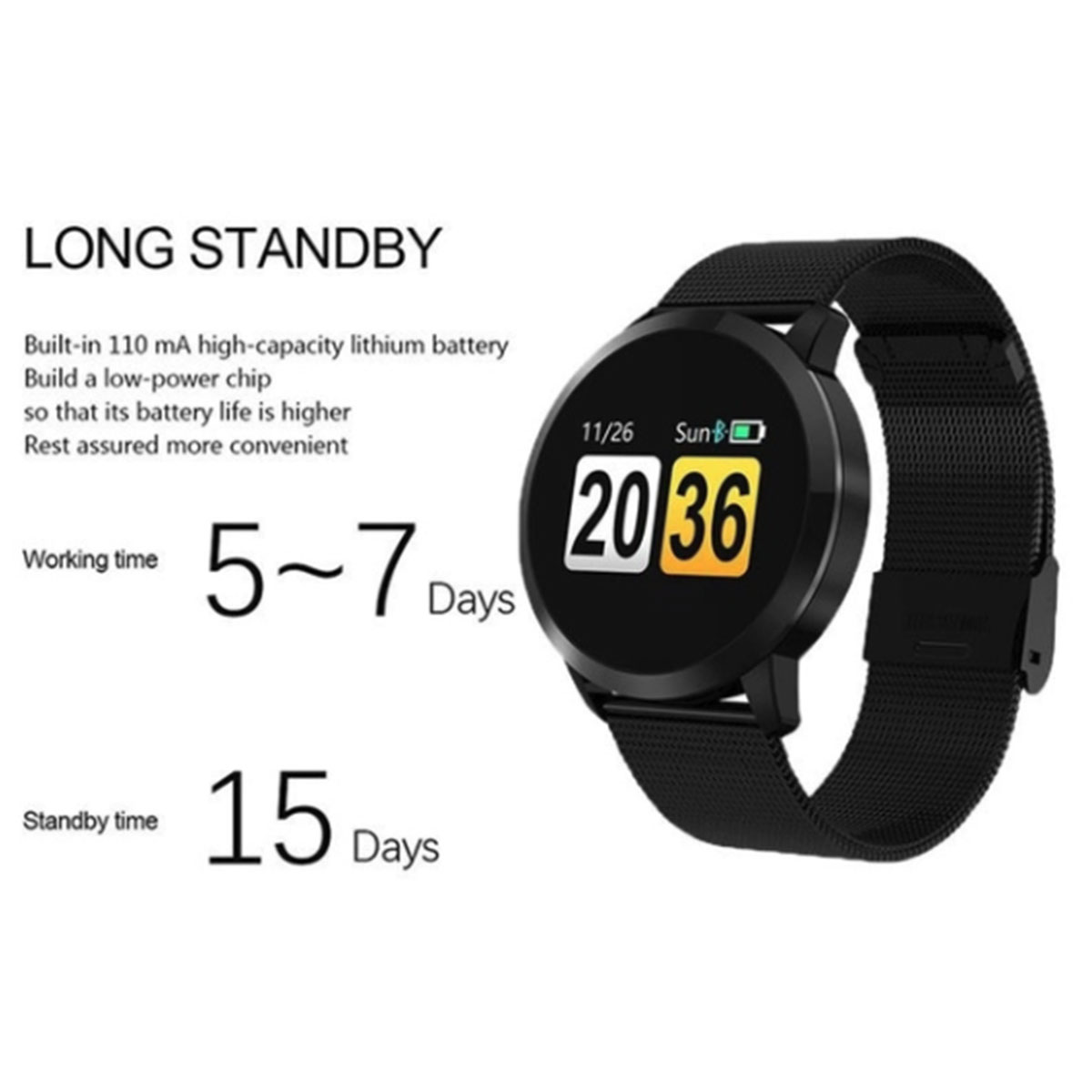 Image 5 - Q8 Smart Watch OLED Color Screen Touch Control Smartwatch Men Women Thin light Fashion Fitness Tracker Heart Rate monitor-in Smart Watches from Consumer Electronics