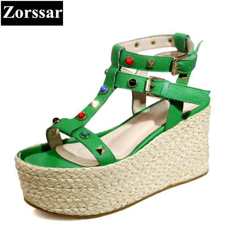 Green 2017 Summer Women Shoes platform wedges Sandals High heels Woman wedding shoes Fashion rivets Punk Roman gladiator shoes