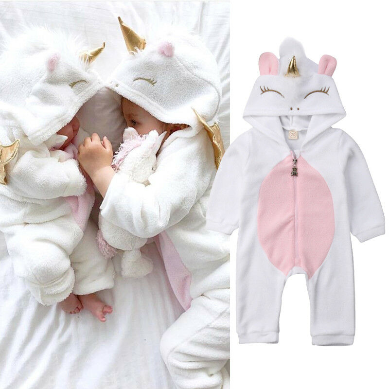 Autumn Newborn Kid Baby Girl Unicorn Flannel   Romper   Zipper Closed Hooded Jumpsuit Infant Outfit Warm Clothes Winter Suit