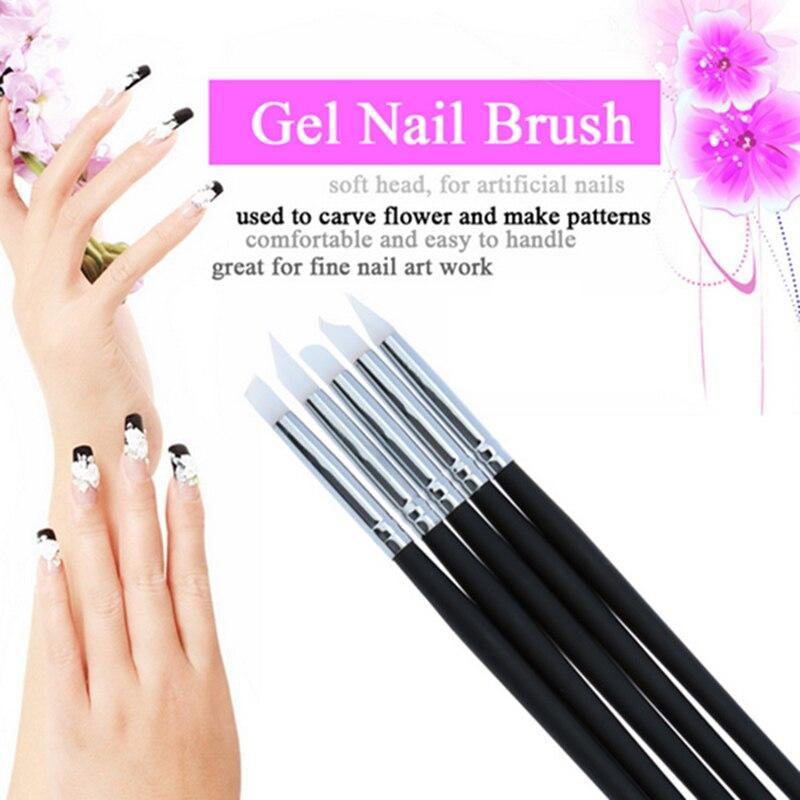 ELECOOL 5pcs/set Clear Silicone Head Nail Art Sculpture Pen Brushes Set UV Gel Polish Tip 3D Image DIY Dotting Brushes Manicure