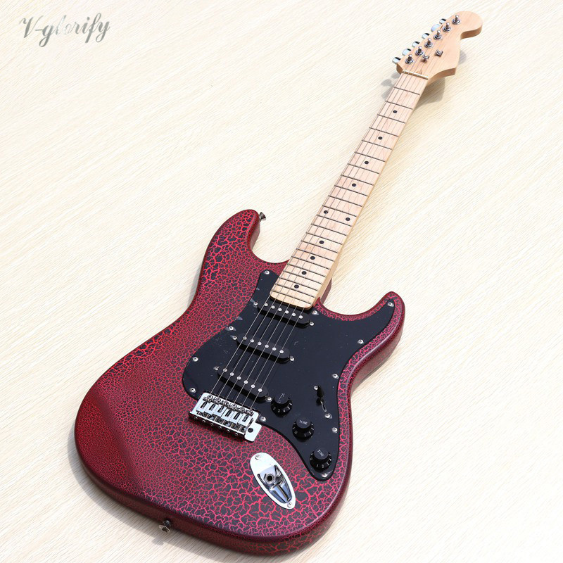 burst crack purple red color 6 string electric guitar with black pickups factory special offer