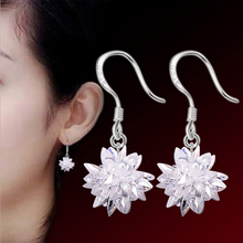 2016 new arrival fashion ice flower 925 pure silver ladies`drop earrings jewelry wedding gift promotion