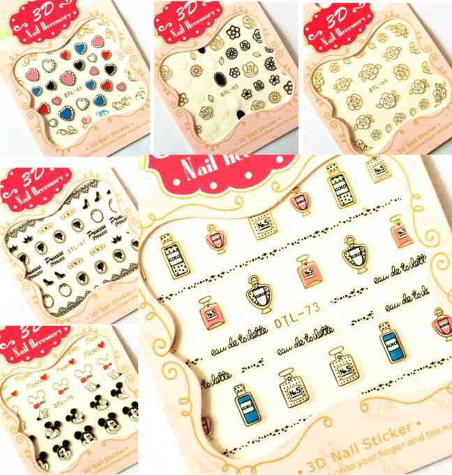 30 Styles! Fashion Nails Art Manicure 3D Gold Decorations Design Back Glue Nail Stickers For Nails Tips Beauty