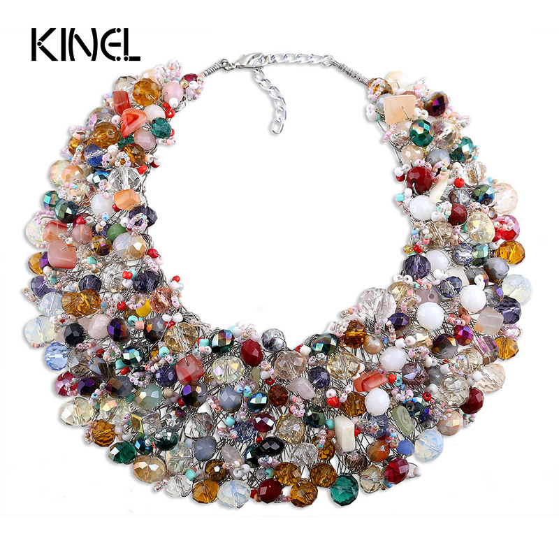 Kinel Vintage Jewelry Natural Crystal Stone Necklace For Women Handmade Colorful Crystal Party Christmas Gift телевизор led 50 mystery mtv 5031lta2 черный