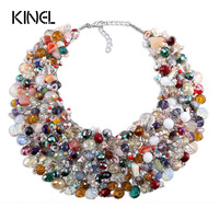 Kinel Vintage Jewelry Natural Crystal Stone Necklace For Women Handmade Colorful Crystal Party Christmas Gift