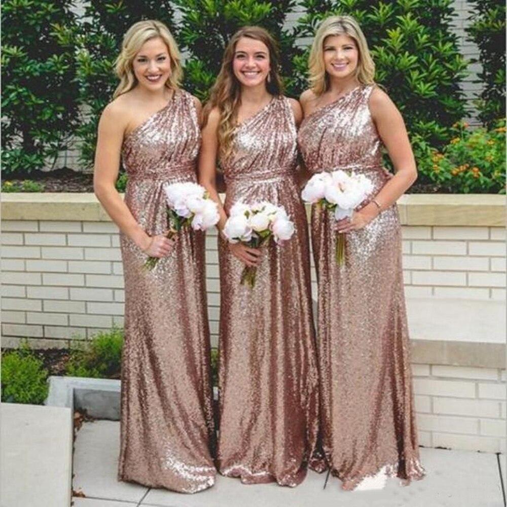 Rose Gold Sequins Bridesmaid Dresses 2019 Bling For Weddings One Shoulder A Line Long Floor Length Plus Size Formal Dresses