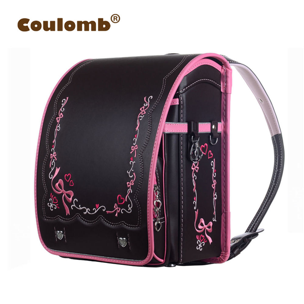 Coulomb Kid Japanese School Bag For Girl Backpack Orthopedic For Children PU Randoseru Student Backpacks 2018 New