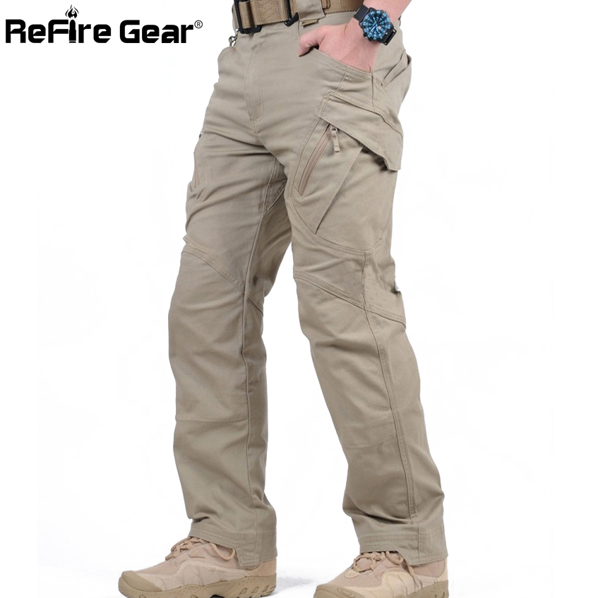 Casual Trousers Cargo-Pants Combat Swat Stretch Many-Pockets Army Tactical Cotton Flexible