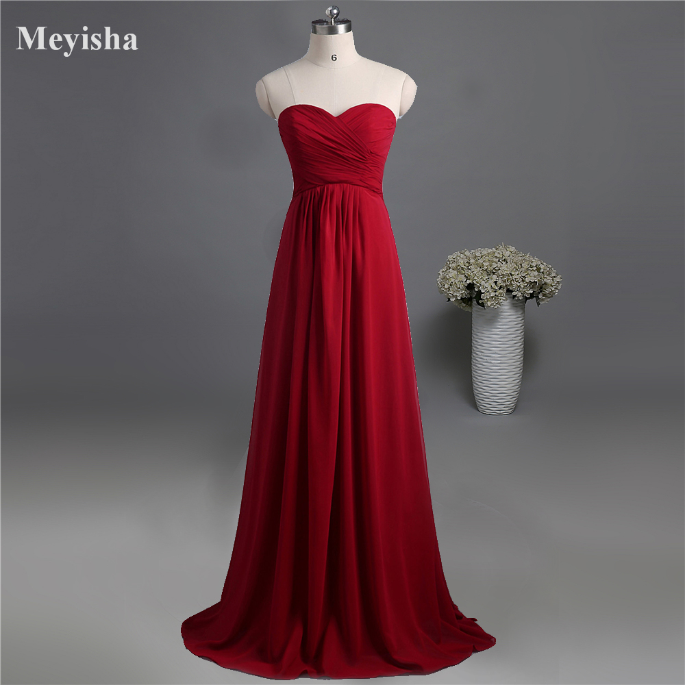 Zj0039 Wine Red Colored Chiffon Strapless Prom Party