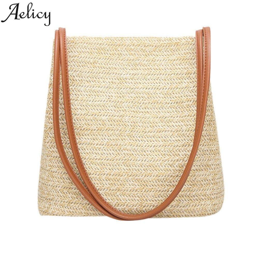 Aelicy 2018 Summer Style Women Durable Weave Straw Beach Bags Feminine Linen Woven Bucket Bag Grass Casual Tote Handbags стоимость