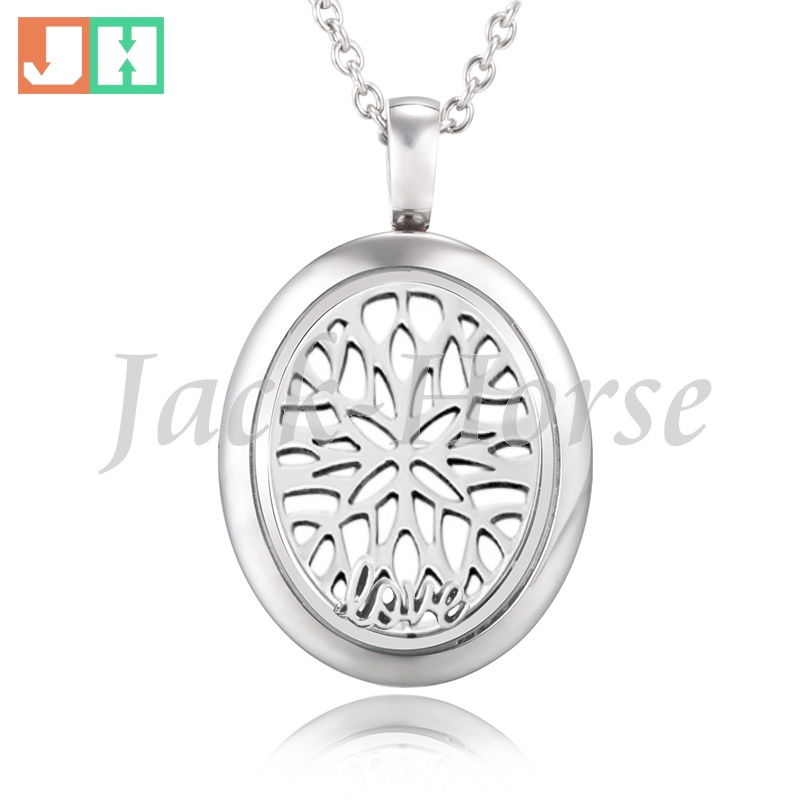 Newest style 316L stainless steel floating silver oval locket pendant