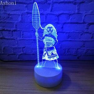 Image 2 - Cartoon Moana Prinzessin 3D Lampe Schlafzimmer Tisch Lampen Nacht Licht Maui 7 Farben Ändern Touch Lampe Abbildung Decor Spielzeug Kinder geschenk