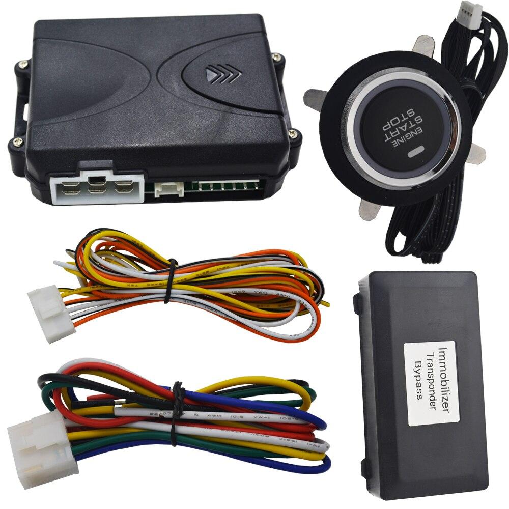 Système de bouton d'arrêt de démarrage de moteur d'automobile avec le module de contournement d'évitement de clé de puce à distance de voiture fonctionnant avec la serrure centrale à distance de voiture