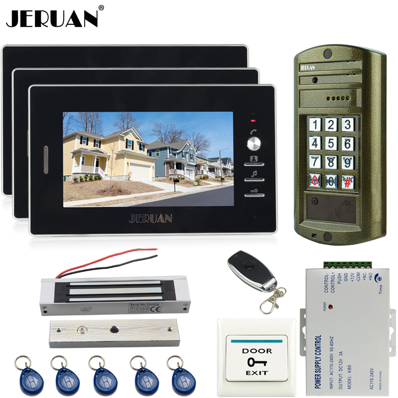 JERUAN 7 inch Video Door Phone Doorbell Intercom System kit 3 Black Monitor + Metal Waterproof Access Password HD Mini Camera jeruan home 7 inch video door phone intercom system kit new metal waterproof access password keypad hd mini camera 2 monitor