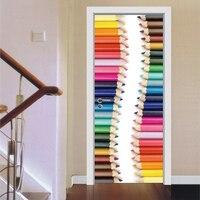 Creative 3D Door Pencil Picture Sticker Living Room Bedroom Bathroom Door Decals Home Hotel Office Decorations
