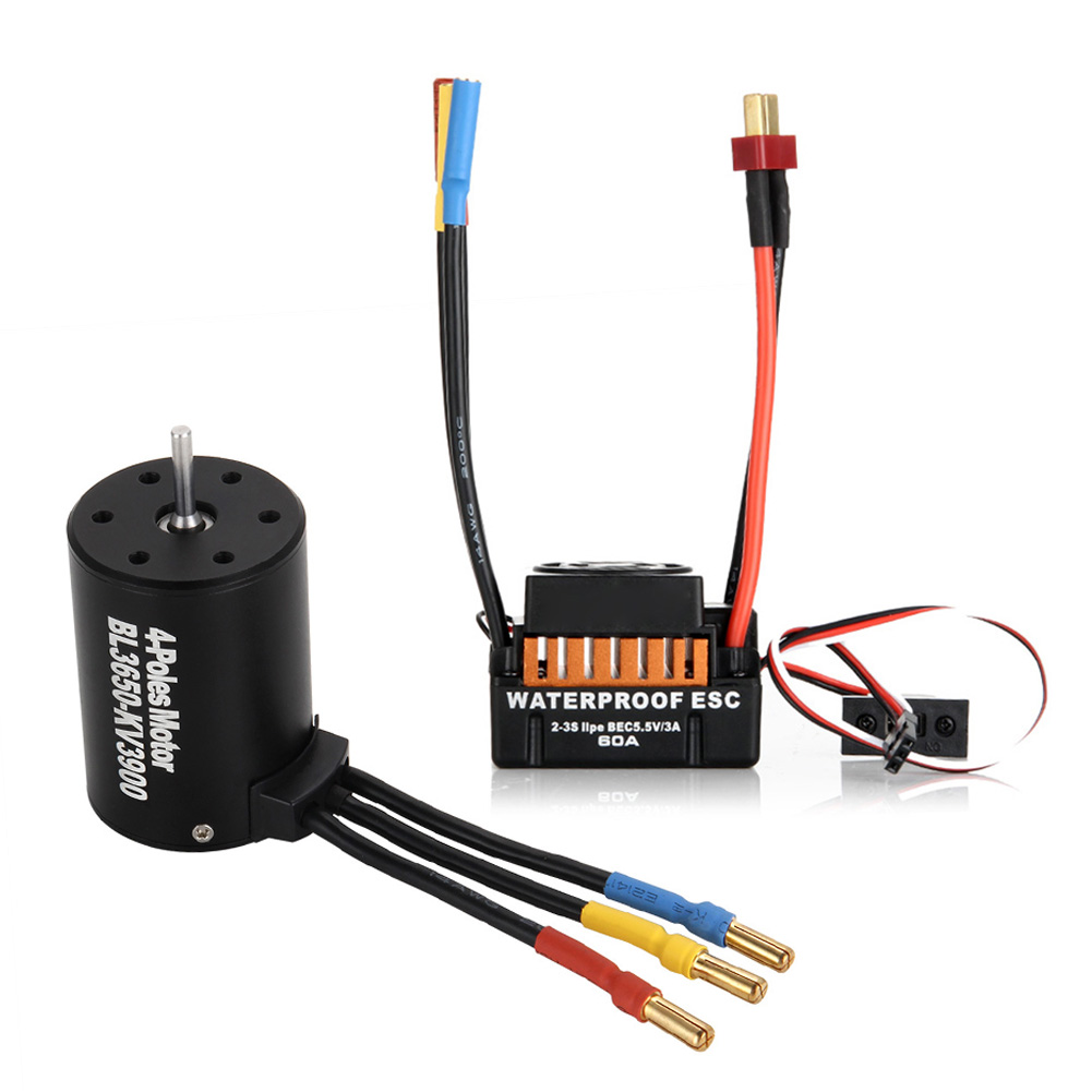 Waterproof 60A ESC + BL 3650 3900KV Brushless Motor Fits For 1/10 RC Car Truck Racing YH-17 hobbywing ezrun max8 v3 t trx plug waterproof brushless esc 4274 2200kv motor led programing for 1 8 rc car truck f19289 90