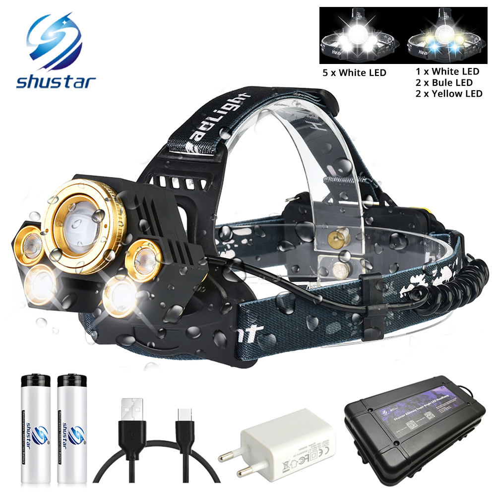 Powerful LED Headlamp Rotating Zoom Waterproof Headlight Using Anti-glare Lens White Light+yellow Light+blue Light