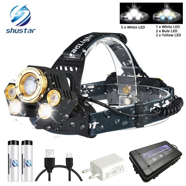 Powerful LED Headlamp Rotating zoom waterproof Headlight Using Anti glare lens White light+yellow light+blue light
