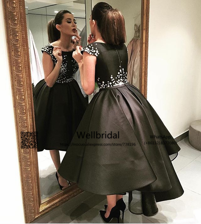 2017 Hi Lo Gown PuffyEvening Party Dresses With Inside Petticoat Black Crystals Beaded Prom Gown Homecoming Cocktail Party Dress