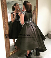 New Hi Lo Gown Puffy Evening Party Dresses with inside Petticoat Black Crystals Beaded Prom Gown Homecoming Cocktail Party Dress