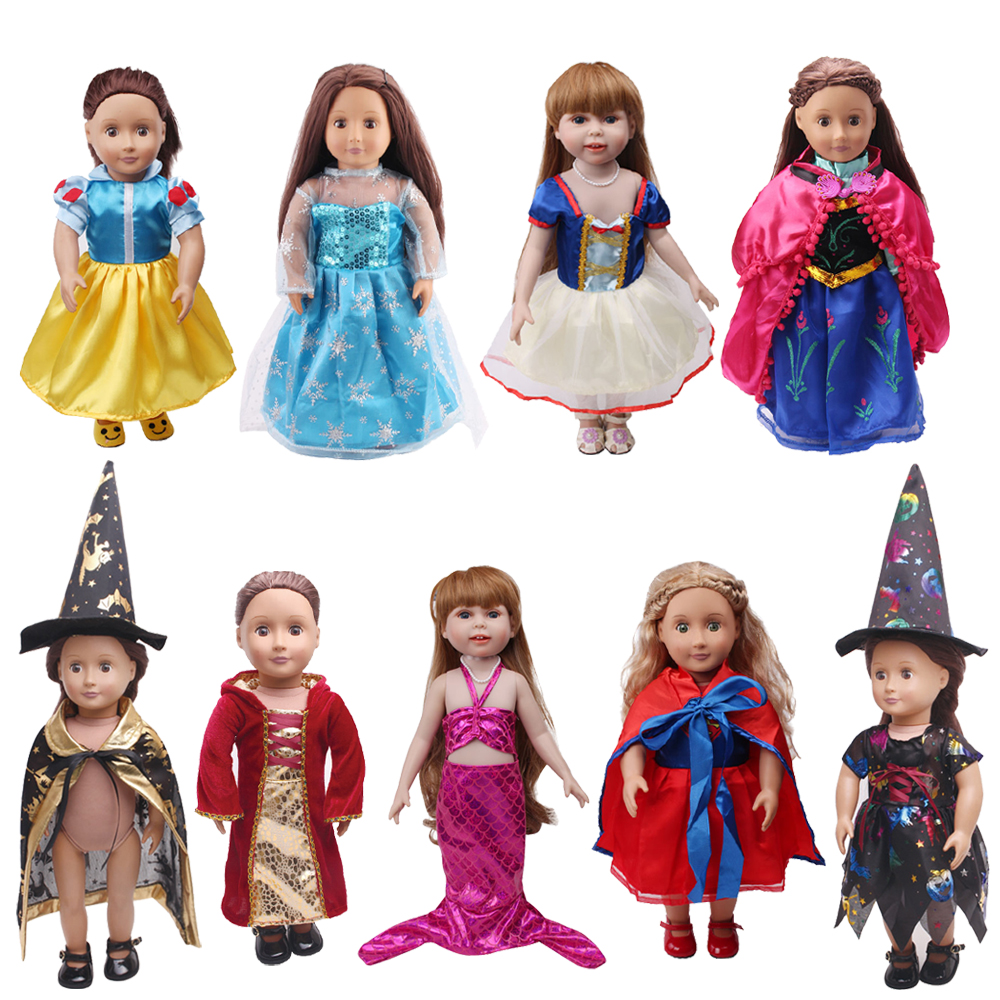 18 Inch Girls Doll Clothes Court Witch Suit Princess Snow White Anna Dress American New Born Skirt Baby Toys Fit 43 Cm Baby C76