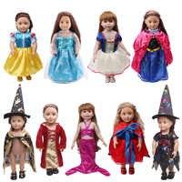 18 pouces filles poupée vêtements cour sorcière costume princesse neige blanche Anna robe américaine nouveau-né jupe bébé jouets fit 43 cm bébé c76
