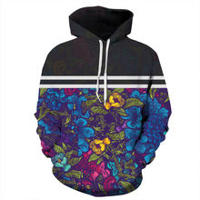 3D Men/Women Striped Flowers Printed Hoodies Men Hooded Pullovers Sweatshirt Autumn